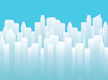Background with urban landscape. Blue background with urban landscape and many white skyscrapers Stock Images