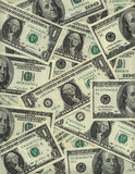 Background of US dollar bills. Background of US one and one hundred dollar bills Royalty Free Stock Photo