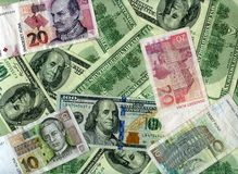 Background. US dollars and Croatian kunas Royalty Free Stock Photography