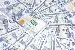 Background of 100 USD. Background of 100 dollar bills, sample 2013 Royalty Free Stock Images