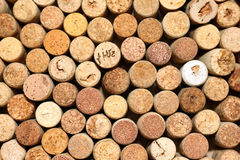 Background of used wine corks, wall of many different wine corks closeup Stock Photo