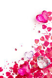 Background for valentine card with glass hearts. Valentine card with pink glass hearts Stock Images