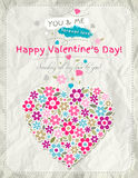 Background with valentine heart of spring flowers Royalty Free Stock Photography