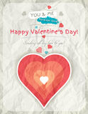 Background with  valentine heart and wishes text Stock Image
