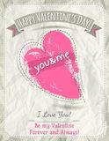 Background with  valentine heart and wishes text,  Royalty Free Stock Photos