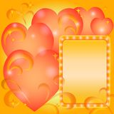 Background, Valentine hearts and frame Stock Image