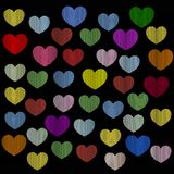 Background on Valentine`s Day. Background of hearts with raster effect on Valentine`s Day Stock Photos