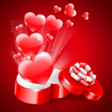 Background for Valentine's Day. Holiday background for Valentine's Day with a gift box in heart shape Royalty Free Stock Images