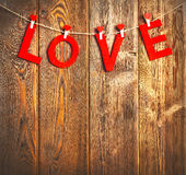 Background of  Valentine`s Day. red hearts on wooden Stock Photos
