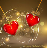 Background for Valentine's Day with two hearts. Festive background for Valentine's Day with two hearts hanging on ribbons Royalty Free Stock Photos