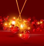 Background for Valentine's Day with two hearts. Festive background for Valentine's Day with two hearts hanging on ribbons Stock Photo