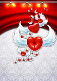 Background Valentine's Day. Winged heart on a background of red curtains. Background to the day of St. avlentyna. Open greetings Happy Valentine. Heart in the Stock Image