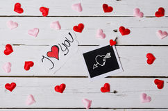 Background Valentine& x27;s Day, the inscription I love you. Stock Image