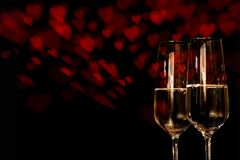 Background for valentines day with champagne royalty free stock image