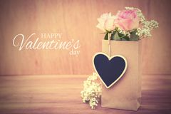 Happy Valentines day. Background with valentines day flowers and text Royalty Free Stock Photography
