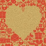 Background Valentines Day. Frame in the shape of a heart on a textured background. Stock Photos