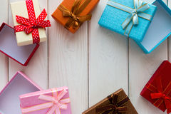 Background on Valentines Day of gift boxes with blank space Royalty Free Stock Images