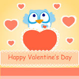Background for Valentines day with owl Royalty Free Stock Photo