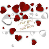 Background Valentines Day with paper hearts. With an inscription stock illustration