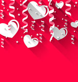 Background for Valentines Day with paper hearts, streamer, stars Royalty Free Stock Photo