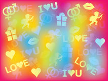 Background with Valentines Day symbols Stock Photos