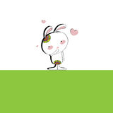 The background for Valentines with a white Bunny. Adorable Bunny with a tattoo on green and white background, surrounded by hearts Royalty Free Stock Photography