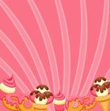 Background vanilla Ice Cream, strawberry Cupcake Stock Photo