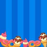 Background vanilla Ice Cream, strawberry Cupcake Royalty Free Stock Photo
