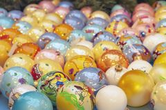 Background from a variety of colorful Christmas balls royalty free stock photography