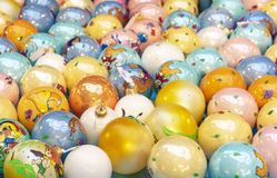 Background from a variety of colorful Christmas balls stock photography