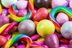 Background from variety of sweets, lollipops, chewing gum, candies. Etc royalty free stock image