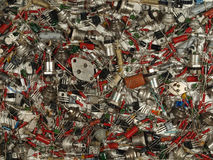 Background of various electronic components of Soviet production Royalty Free Stock Photo
