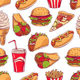 Background with various fast food Stock Images