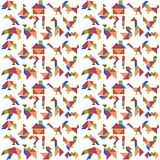 Background with various figures of tangram.  Stock Photos