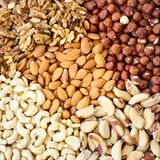Background from various kinds of nuts Royalty Free Stock Photo