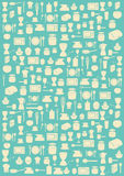 Background with various kitchen symbols Royalty Free Stock Photos