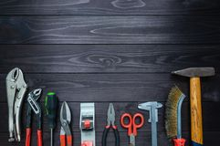 Background from various tools on wooden workbench. top view.copy space stock photo