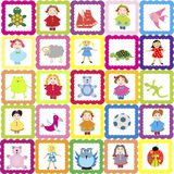 background with various toys, for kindergarten Stock Photo