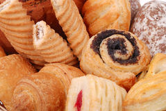 Background from variuos sweet buns and cakes Royalty Free Stock Photography