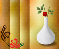 Background with vase and branch of rose Royalty Free Stock Photos