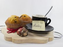 Background with vassi, cup, muffin, ladybug and happy Monday`s c stock photo