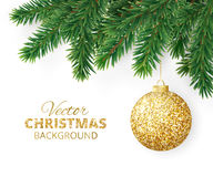 Background with vector christmas tree branches and hanging glitter ball Royalty Free Stock Images