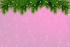 Background with christmas tree branches and space for text. Realistic fir-tree border, frame on sparkling background for christmas. Background with vector Royalty Free Stock Image