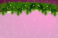 Background with christmas tree branches and space for text. Realistic fir-tree border, frame on sparkling background for christmas. Background with vector Royalty Free Stock Photography