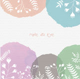 Background with vector watercolor backdrops and hand drawn flowers royalty free stock photos
