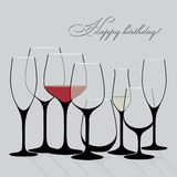 Background vector with wine glasses. Good background for restaurant or bar menu design Stock Images