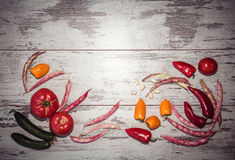Background of vegetables above view toned Royalty Free Stock Photo