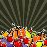 Background with vegetables and fruit Royalty Free Stock Image