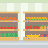 Background of vegetables and fruits on shelves. Royalty Free Stock Photos