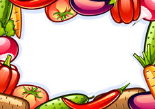 Background with vegetables. White background with colorful shiny vegetables Stock Photography